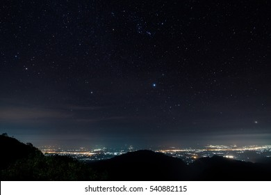 Star on monson viewpoint at doi angkhang, chiangmai, Thailand