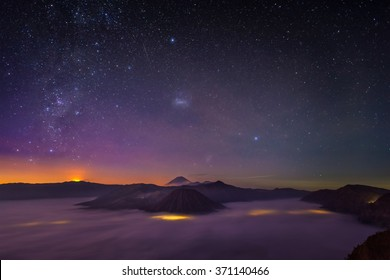 Star on the sky above Bromo mountain