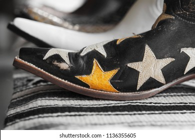 Star pattern on vintage cowboy boots
