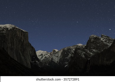 Star scene on a clear December night over Yosemite Valley.  Jupiter, Denebola, Coma Berenices Cluster, Cathedral Rocks, Sentinel Done, Half Dome, Clouds Rest and El Capitan are prominent features.