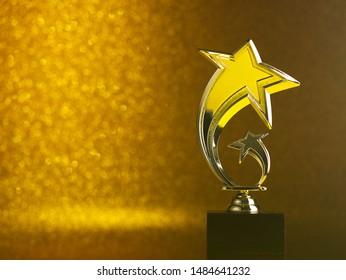 star shape golden trophy on the shinny golden background