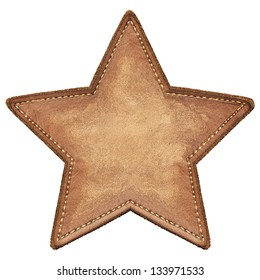 Star shape leather label, isolated