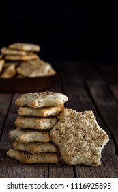Star shaped biscuits with sesame seeds, made with Sicilian recipe, for winter holidays.