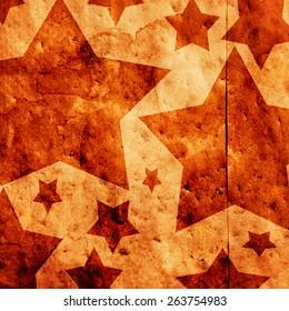 star shapes on a paper bag with an overlay filter