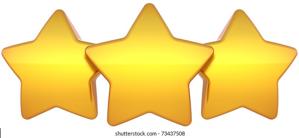 Star shapes three golden shiny symbol. Leadership award champion success concept. The best choice vote abstract. This is a detailed render 3d (Hi-Res). Isolated on white background