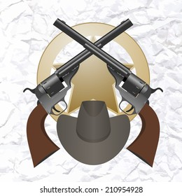 Star of the sheriff's hat and small arms. The illustration on a white background.