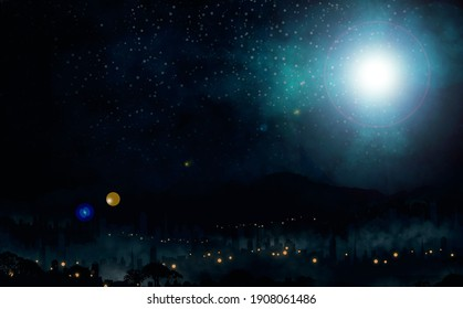 The star shines over the dark background of christmas of Jesus Christ.