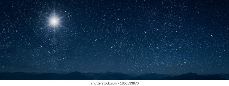 The star shines over the manger of christmas of Jesus Christ. - Shutterstock ID 1850533870