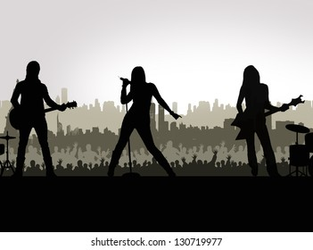 star singer and the crowd of fans - concert poster