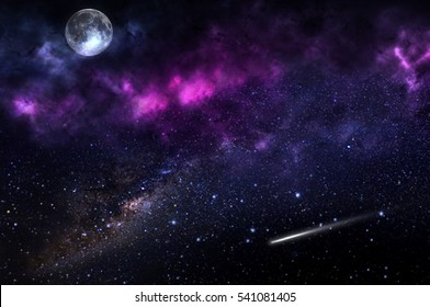 Star sky with moon and nebula