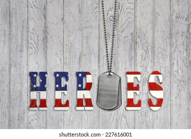 star and stripe font for military heroes with dog tags on weathered wood