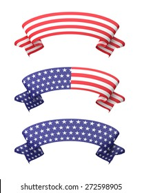 Star striped ribbon banners isolated on white.