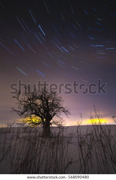Star track in the night sky.