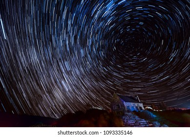 The star trail of the lake Tekapo in May 2018 at South Island of New Zealand.