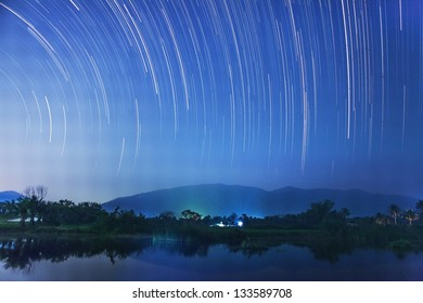 Star Trail in the night of Thailand