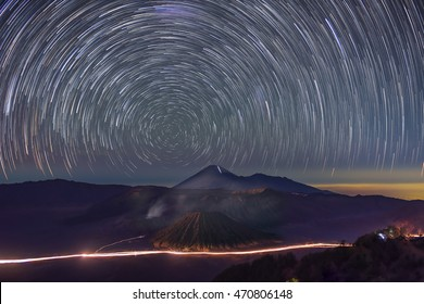 Star trail over Mount Bromo volcano East Java, Indonesia.