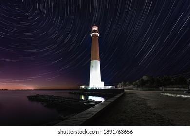 star trail photo of Barnegat lighthouse, Barnegat, New Jersey