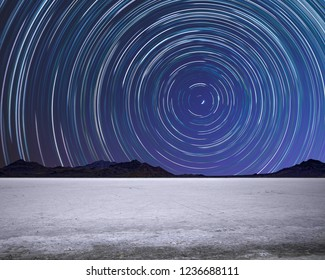 Star Trails Above Bonneville Salt Flats Speedway in Utah Wendover Desert