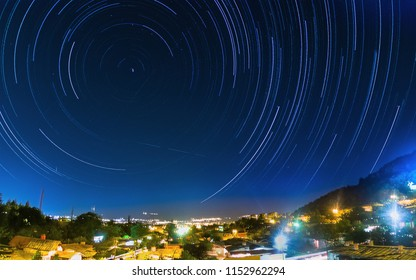 Star trails above the city of Niš