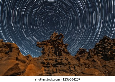 Star Trails Above Red Sandstone Rock Formations in Fantasy Canyon Vernal Utah Astrophotography Night Sky Photography