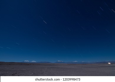 star trails Andes Mountain