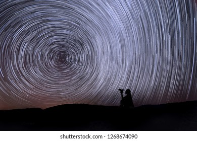 Star Trails in Big Bear, California at Night