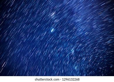Star trails movement at night