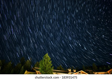 Star Trails in Night Sky Astrophotography