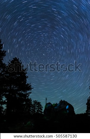 Star Trails and Night sky at Glacier Point, Yosemite National Park, CA