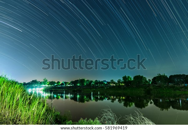 star trails on the sky
