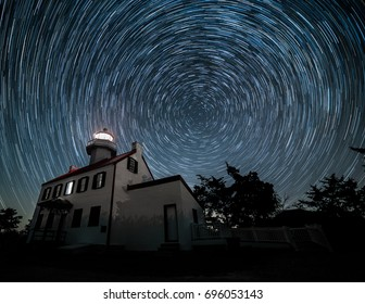 Star trails over East Point Lighthouse in southern New Jersey