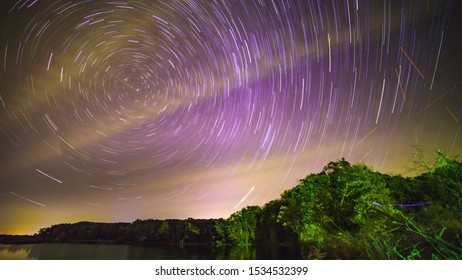 Star trails over little dixie lake