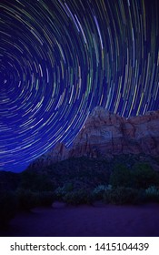 Star Trails Over the Watchman Trail, Zion National Park