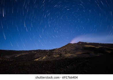 A star trails photographed during a night of clear sky on the mount Etna.