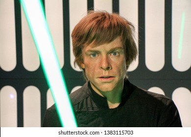 Star Wars - Luke Skywalker wax figures in Madame Tussauds museum in Berlin, Germany - 20/04/2019