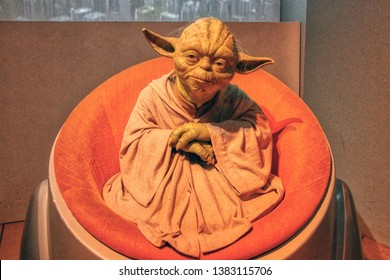Star Wars - Master Yoda wax figures in Madame Tussauds museum in Berlin, Germany - 20/04/2019