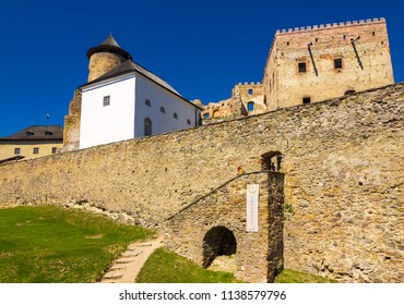 Stara Lubovna, Slovakia - AUG 28, 2016: stone walls of Stara Lubovna castle. popular tourist destination. Bright sunny day with deep blue sky