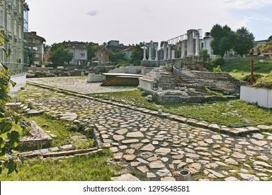 STARA ZAGORA, BULGARIA - AUGUST 5, 2018:  Auditorium of the Antique Forum at ruins of Augusta Traiana in the center of city of Stara Zagora, Bulgaria