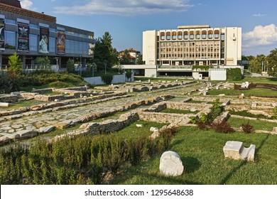 STARA ZAGORA, BULGARIA - AUGUST 5, 2018: Regional Library and Ruins of Roman city Augusta Traiana in the center of city of Stara Zagora, Bulgaria