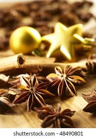 star-anise, cinnamon sticks and Christmas baubles