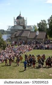 STARAYA LADOGA, RUSSIA - 4 JULY 2015: Photo of Military battles. Festival-reconstruction Ladogafest 2015.