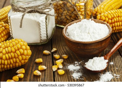 Starch and corn cob on the table