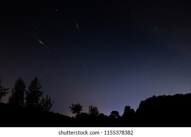 Starfall in the constellation of the Perseus