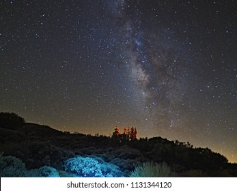 Starfalling night on the 12th of August at the foot of the highest mountain of Spain, the Teide at 2340 m altitude. A clearly visible Milky Way is perfect to see, while the stars fall to the ground