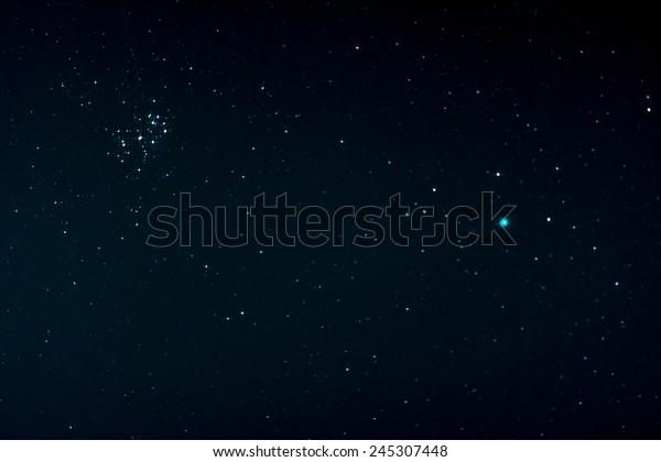 Starfield with Comet Lovejoy and Pleiades, Jan. 17, 2015 in Germany