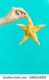 Starfish in hands of woman, summer vacation, beach relax concept. Bright summer background with seastar.