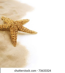 Starfish on the Sand border design.Isolated on white.Vacation concept