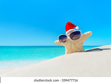 a996adc9 Starfish in sunglasses and Santa hat on tropical ocean beach. Merry  Christmas and Happy New