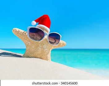 Starfish in sunglasses and Santa hat on tropical ocean beach. Merry Christmas and Happy New Year's Day vacation concept.