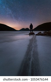 Stargazing at Jordan Pond in Acadia National Park, Maine.